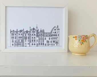 Edinburgh Print, minimalist print, Picture of Ramsay Lane, Edinburgh, home decor, wall art, Scottish art, Picture of Edinburgh, Scotland