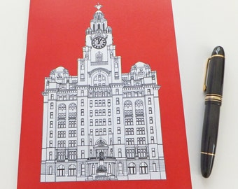 Liverpool Journal, Red Journal, Recycled Notebook, Recycled Journal, Blank Journal, Travel Journal, Liver Building, stocking stuffer