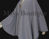 Lilac Gray Cape Ruana Wrap Coat Wool Cashmere Blend by Maya Matazaro USA Made