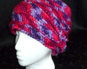 Crochet Beanie, Winter Hat, Crochet Hat, Womens Hat, Ridged Hat - Shades of Pink and Purple