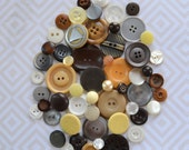 Vintage Button Lot - Yellow, Grey and Brown Collection - Mix 733