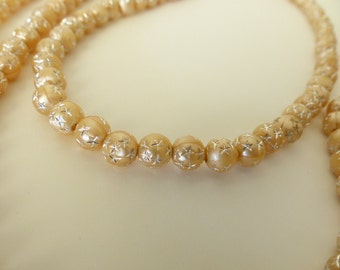 Beaded Necklace L-O-N-G Light Peach Color/Working Woman Beaded necklace/ long beaded necklace/peach beaded necklace/strand beaded necklace/