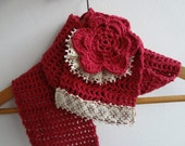 Winter Scarf for the Mori girl - crocheted cowl, crocheted scarf, mori cowl, kawaii, statement scarf, lace, c