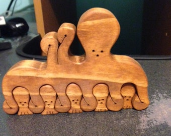 Wooden Octopus Mom & Babies - Scroll Saw Puzzle - 6 Pieces - Stained