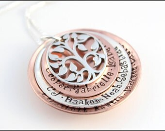 Gift for Grandma Necklace in Sterling Silver & Copper | Stacked Names Necklace with Tree of Life Charm