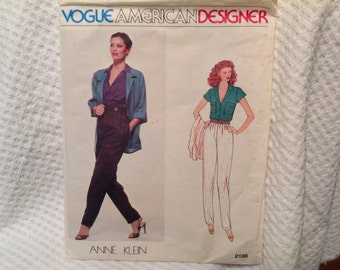 Vintage Vogue pattern 2136, Anne Klein, jacket and pants, American Designer