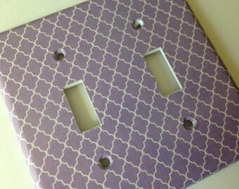 Purple Double Light Switch Plate Cover/ Moroccan Decor/ Trellis Decor/ Lavender Nursery Decor/ Purple Decor/ Lavender Home Decor / Baby Gift