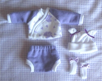 """4 Pc Elephant  Layette Set  For 5-6"""", 6-7"""", 7-8"""", 8-9"""" or 9-10"""" Mini dolls, you pick color and size. Doll Clothes"""