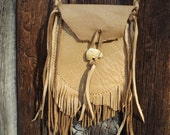 Leather Possibles Bag Saddle Tan Cross Body Double Fringe