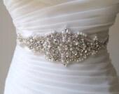 Bridal beaded rhinestone pearl sash.  Vintage style crystal applique wedding belt.  CAMILLA