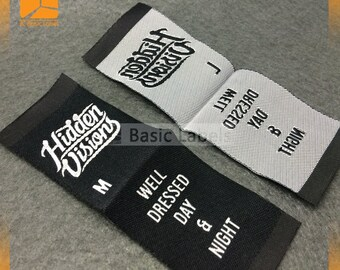 300 custom woven labels, clothing labels, custom woven clothing labels