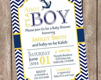 Chevron Ahoy it's a boy baby shower invitation, yellow, navy, anchor, nautical, printable invitation