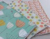 Baby Girl Burp Cloths- Set of 3- Mint Green, Coral, Flowers, Polka Dots, Pastel Burp Cloths, with White Chenille