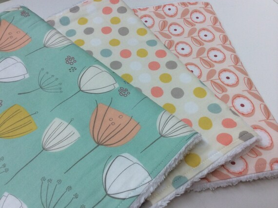 Baby Girl Burp Cloths Set of 3 Mint Green by ButterBrickleBaby