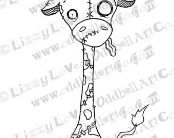 INSTANT DOWNLOAD Digi Stamp Digital Image Creepy Cute Zombie Giraffe ~ Spookison Image No. 135 by Lizzy Love