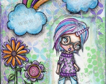 "Big Eye Kawaii Art ""Rainbows & Unicorns Make Me Happy"" Giclee Print Signed Reproduction by Lizzy Love [IMG#144]"