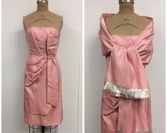 1950s Pink Party Dress 50s Shawl