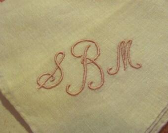 2 Solid White Cotton Hankies Monogrammed SBM