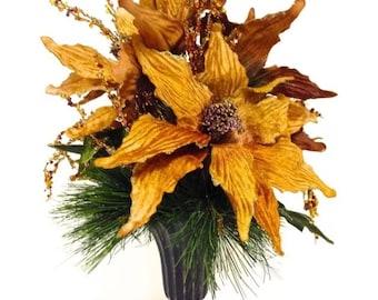 "Winter Christmas Centerpiece Arrangement Gold Silk Velvet Poinsettias in Antique Bronze Urn 12"""