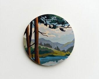 Paint by Number Large Circle Art Block 'Mountain View' - vintage art, landscape