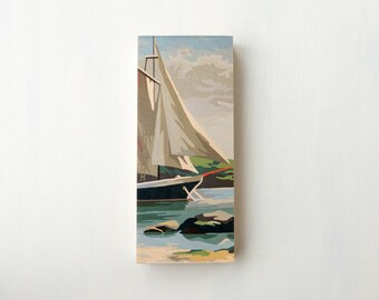 "Paint by Number Large   6"" x 14"" Art Block 'Sail Away' - sailboat, vintage marine art"