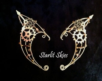 Steampunk Elf Ears crafted in Brass and copper with Glass beads