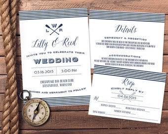 Nautical Navy and White Wedding Invitation and RSVP Card - Printable or Print Options