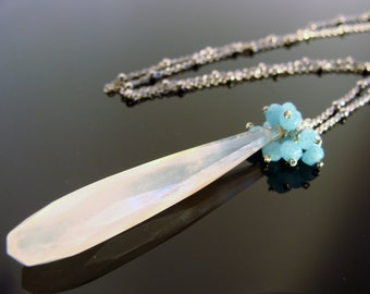 White and Blue Chalcedony Sterling Silver Cluster Necklace