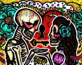 "La Llave de Mi Corazón/The Key to my Heart"" Print -Dia de los Muertos-Day of the Dead-Novios- Wedding Votes- Mexican Wedding-Bride and Groom"