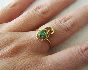 14K gold emerald cz Ring Size 6.25, for May birthday