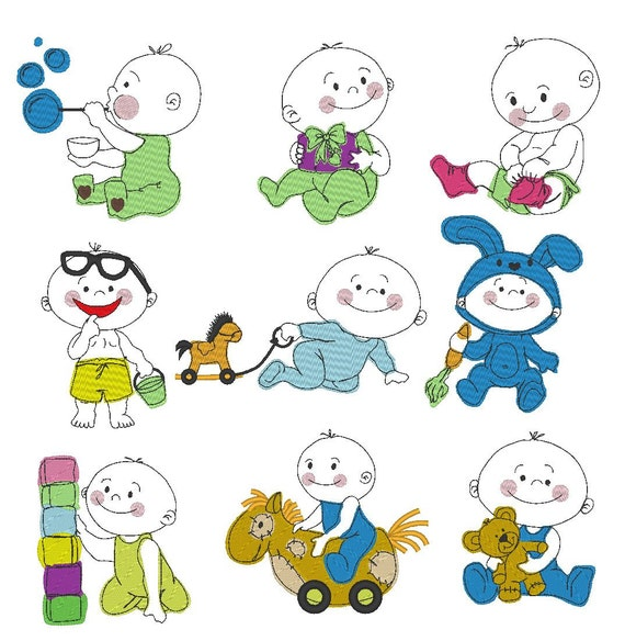 Baby boy machine embroidery and outline designs for hoop