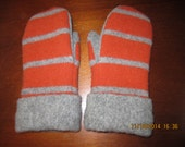 ORANGE Striped Felted Wool Mittens made from Recycled (Upcycled) Sweaters Fleece Lined Adult Medium Men or Women