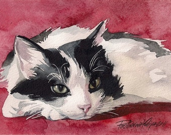 Print of the Original Watercolor Painting Tuxedo Cat Black and White Cat Kitty Kitten Sneaky