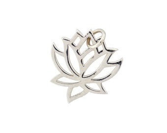 Sterling Silver Lotus Charm 19x15mm Small Open work Lotus Charm with Soldered Jump ring - 1pc (2850)/1