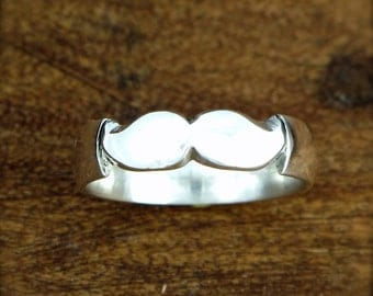 Movember Mustache Ring - Sterling Silver 5mm