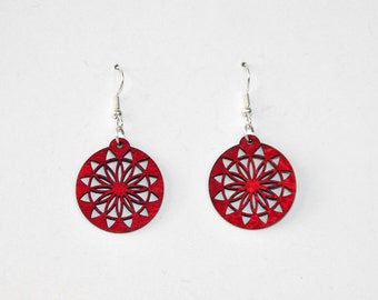 Mandala Geometric Earrings in Red, Blue, Orange, Black