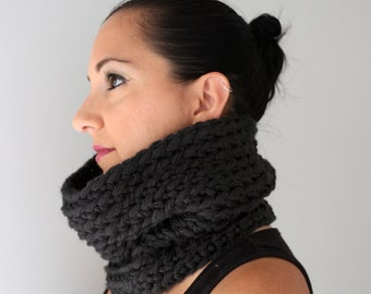 Black Ribbed Neck Warmer, Black Chalet Cozy Winter Accessories