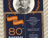 Birthday Invitation - 80th Birthday  50, 60, 70, 80, 90, 100