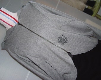Grey Atomic Asymmetrical Hoodie- SALE- Batwing Sleeve- L 38- 42 inches
