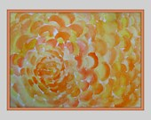 "Abstract Orange and Yellow - Marigold Flower Petals - Original Painting 11"" x 14"""