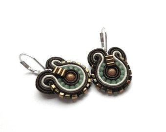 Brown Earrings Brown Drop Earrings Earthy Earrings Small Drop Earrings Brown and Green Earrings Soutache Earrings Brown Dangle Earrings