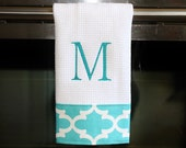 Coastal Blue and White Quatrefoil Monogrammed Dish Towel or Hand Towel