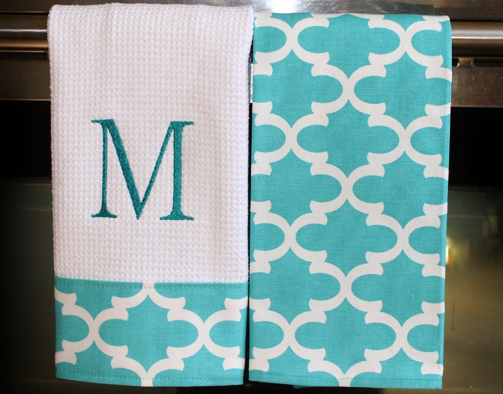 Monogram Kitchen Towels Or Hand Towels In Coastal Blue
