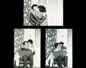 "3 pc - Vintage Mini Photo Proofs ""Kissing Corner"" Snapshot Photo Antique Photo Black & White Photograph Found Paper Ephemera Vernacular - 53"