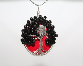 Black Tree of Life with Red Background with Owl