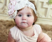 The Vintage Garden Pink and Ivory Baby Flower Headband, Infant Headband, Photo Prop,