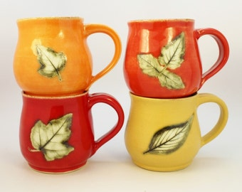 Made To Order, Handmade Mugs, Set of Four Botanical Mugs, Wheel Thrown Stoneware Handmade Coffee Mugs