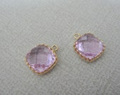 Jewelry Supplies, Gold plated Square Glass Drop Pendant, Light amethyst framed Glass Stone charm, 9 mm, 2 pc
