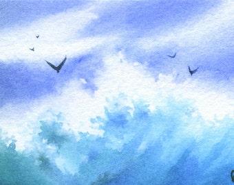 ACEO Original watercolor painting - Aquamarine