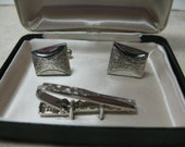 Vintage, New in Box, Cadillac, Silver Tone Cufflink and Tie Tac Set, Funky, Fun and Playful